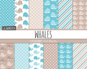 Whale Digital Paper Pack. Patterns with Cute Blue Whales Backgrounds. Baby Boy Digital Scrapbook