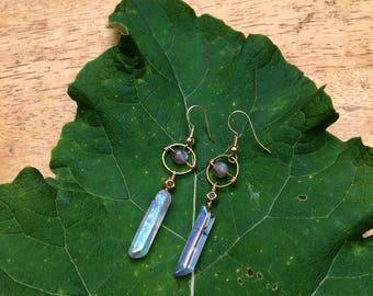 Iridescent Crystal Drop Earrings