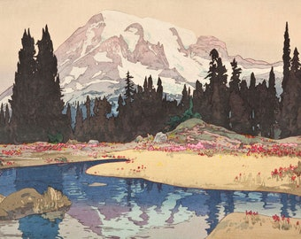 "Japanese Art Print ""Mt. Rainier (Reniya-Yama)"" from the American Series by Yoshida Hiroshi, woodblock print reproduction, Washington State"