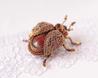 Beauty gift Brooch beetle Woodlander jewelry insect natural stone embroidered brooch brooch Beetle jewelry beetle pin natural stone brooch