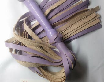 Lilac Purple Leather Flogger w/ Resin Handle