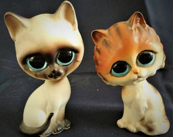 Big-Eyed LEFTON Cats, Siamese and Orange Calico Cat, H6882 & H6862, Vintage,  1960-1983, Cat-Lover, Kitschy, Non-Profit, Charity
