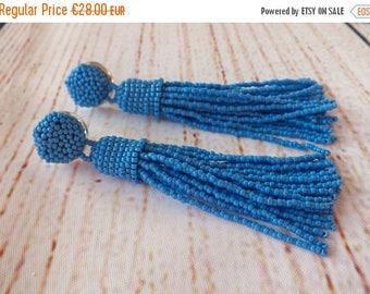 AUGUST SALE Beaded tassel earrings, cornflower blue, fringe earrings,  statement seed beads earrings, tassle earrings,wedding earrings,bride