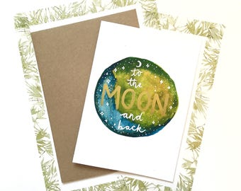 Unique Handmade Watercolour Card - To The Moon