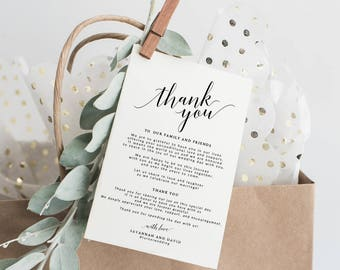 Wedding Thank You Cards Template | Printable Thank You Card Template | Editable Thank You Card | DIY Thank You Card | Thank You Note