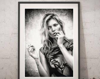 Kate Moss Black&White portrait, Kate Moss Art poster, Instant download Wall art, Printable Kate Moss Poster, Kate Moss Fashion Home Decor