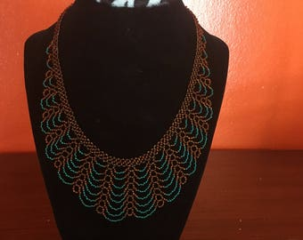 Turquoise/brown handmade beaded necklace