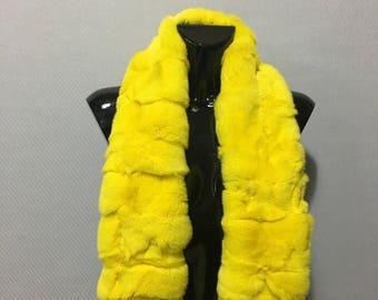 Yellow Rex Chinchilla Real Fur Scarf