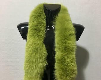 Real Natural Green Fox Small Fur Scarf Collar