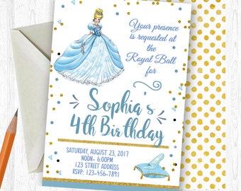 Cinderella Birthday Invitation, Cinderella Birthday Invite, Cinderella Invitation, Cinderella  Printable Invitation