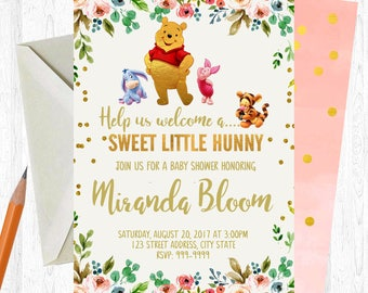 Winnie the Pooh Baby Shower Invitation, Winnie the Pooh Baby Shower, Watercolor, Floral, Shabby Chic, Boho Invitation