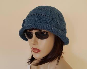 Women Blue Cotton Cloche Hat ,Spring, Summer Hat, Garden Hat, Chemo Hat, Brimmed hat,,