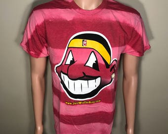 Custom Vintage Cleveland Indians shirt // faded distressed // acid washed tee // big chief wahoo logo // rad cool shirt // Cleveland Cavs