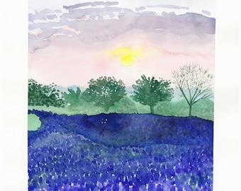 Purple Lupin Landscape Watercolor Art Print - 9 x 12