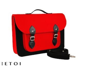 Laptop bag, felt laptop bag, macbook air sleeve, messenger bag, shoulder bag, crossbody bag, leather bag, red bag, black bag