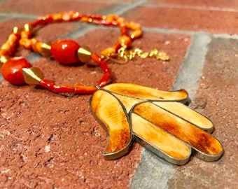 Morrocan Tuareg Camel bone Inlaid brass khamsa & Orange Bamboo Coral African Berber handmade necklace.