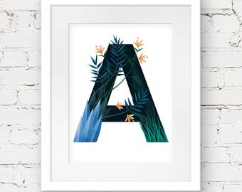 Letter A Printable, monogram printable art, jungle nursery art, botanical nursery art print, instant download, nursery letter art print
