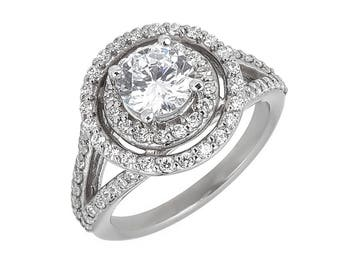 Style #186-E, 14K gold CZ (Cubic Zirconia),  Engagement Ring