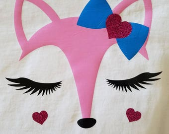 Fox with Bow and heart//Girls fox shirt//