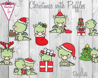 Puffles Die Cuts or Stickers - Christmas