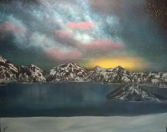 16x20 original crater lake oil painting