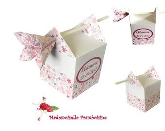 Box dragees, liberty flower kusudama, personalized, christening, wedding, birthday, communion