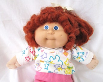 "Vintage Cabbage Patch Kids Doll Girl 16"" Blue Eyes Long Red Auburn Hair Cornsilk Dimple 1982 Outfit Plus Shoes Plush"
