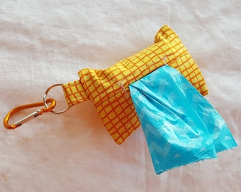 Dog Poop Bag Dispenser - Clip on Style - Yellow with Orange Checks