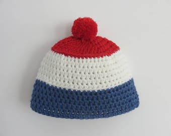 Wool french flag Beanie Hat