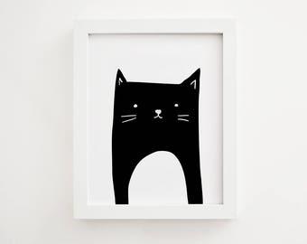 Black and white art, Nursery print, Cat print, Wall art print, Animal print, Printable wall art, Animal wall art