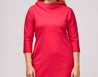 Red dress / Red jersey dress / Jersey dress / Red hoodie dress / Plus size dress / Handmade dress