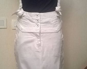 Overall high waisted cotton white color