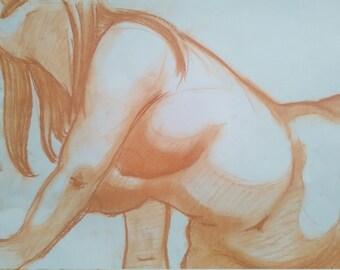 Original drawing in chalk - nude