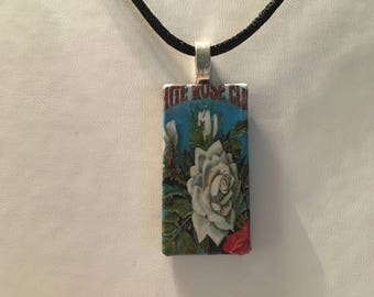 Vintage Flower Label Pendant Necklace Boho Indie Festival Teacher Gift Unique