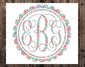Scallop Monogram Decal, Lilly Vine Monogram Decal, Yeti Vine Monogram Decal, Yeti Decal, Lilly Monogram Decal, SIC Decal, Scallop Monogram