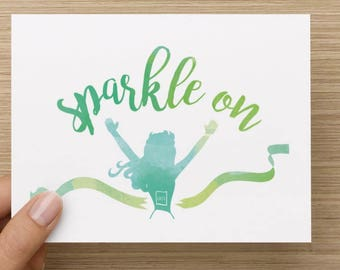Sparkle On greeting card for female runner, celebratory race card