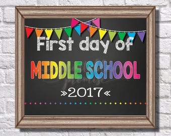 First Day of Middle School Sign || Rainbow || Banner || Polka Dots || 2017 || Teacher || First Day of School || Back to School