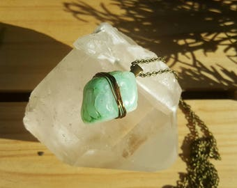 PEACE - Raw Chrysoprase Necklace, Chrysoprase Healing Gemstone, Soothing Aqua Green Crystal, Self Love, Heart Chakra, Gifts Under 25