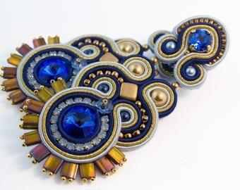 Mayan Sun earrings-blue-Luxury Italian Soutache-golden thread
