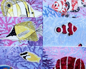 Greeting cards set of 6, thank you cards, birthday cards, tropical fish, clown fish