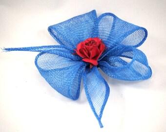 head jewelry, blue sisal, flower shape