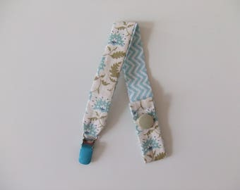 Double sided pacifier chain and clip - Blue