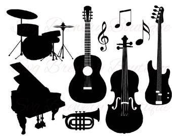 Music instruments, drum, guitar, trumpet, piano SVG  PNG, DXF, for cricut, silhouette studio, cut file, vinyl decal, t shirt design,