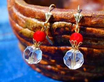 Lively red crystal earrings