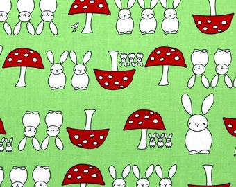 Hop Little Bunny | 100% Cotton Poplin Fabric| Rabbits and Toadstools | Lime Green Fabric | Cute Kids Fabric