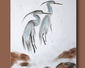 Two herons fitted with a long neck