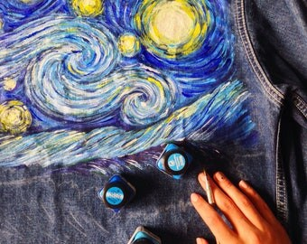 Van Gogh Starry Night with blue wave hand painted denim jacket (! price just for painting !)