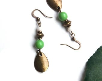 Bronze Green Pearl and charm earrings drop earrings ♦