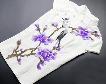 Purple Flowers Appliques Bird On Floral Branch Patches