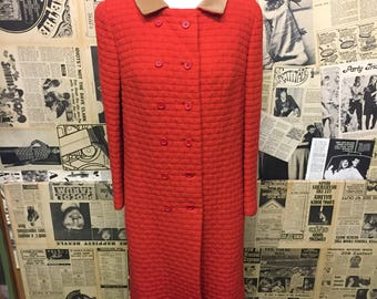 Original Vintage 1960's Maggi Shepherd Double Breasted Coat Red Free Worldwide Postage